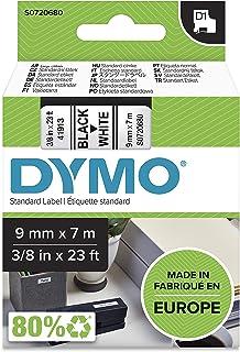 Dymo Etykiety D1, samoprzylepne etykiety do drukarek etykiet LabelManager, autentyczne, 9 mm x 7 m, czarny nadruk na biały...