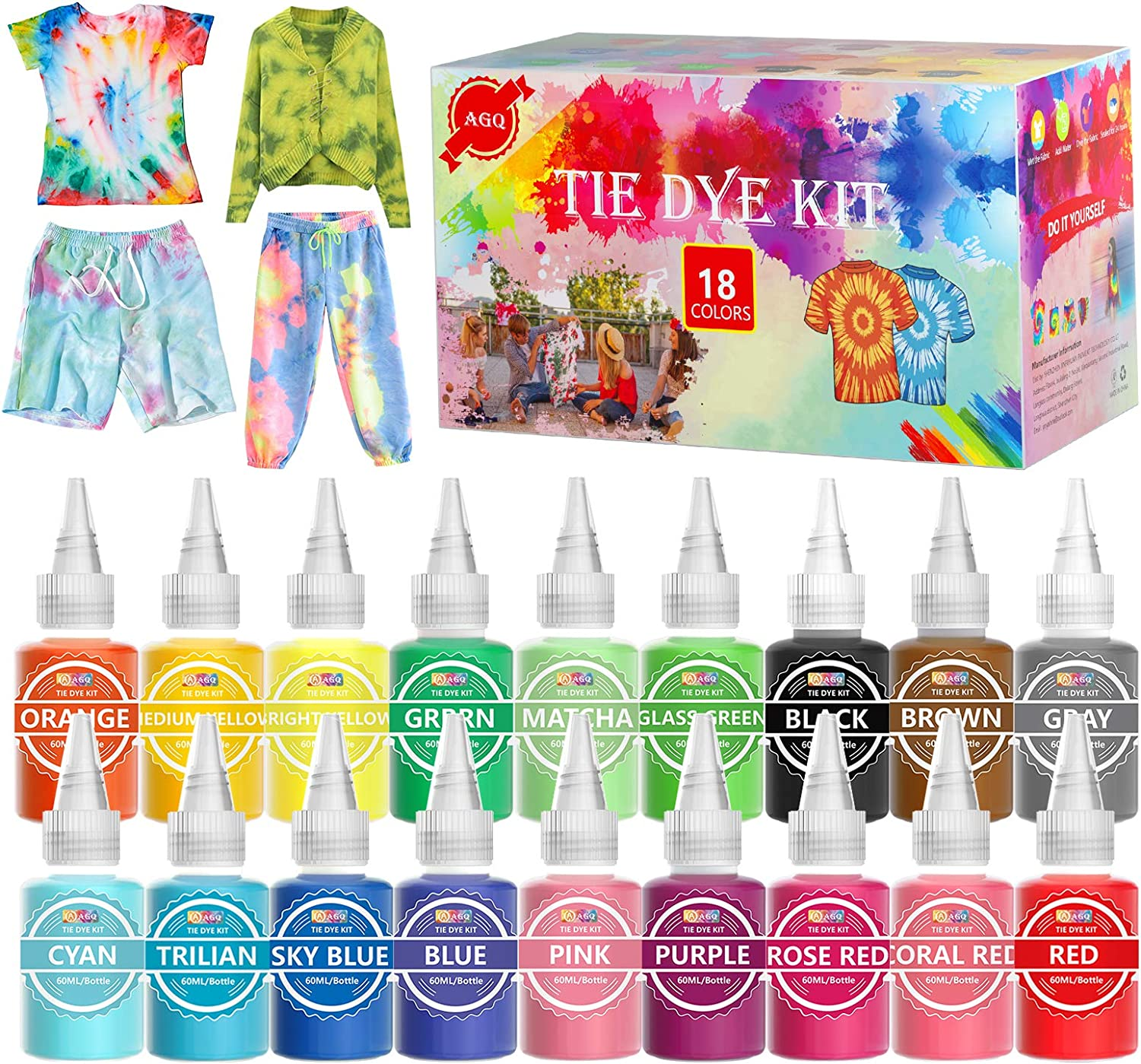Tie Dye Kit 18 Colors DIY Kids Adults Fa 5 ☆ very popular Sets for Store Fabric