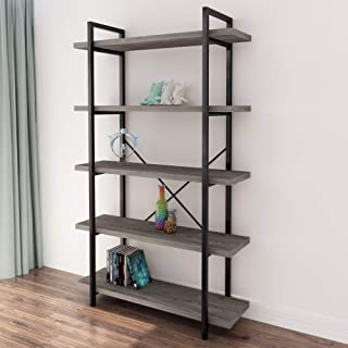 45MinST 5-Tier Vintage Industrial Style Bookcase/Metal...