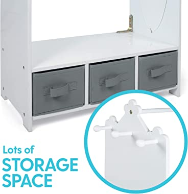 Milliard Dress Up Storage Kids Costume Organizer Center Open Hanging Armoire Closet Unit Furniture for Dramatic Play with Mir