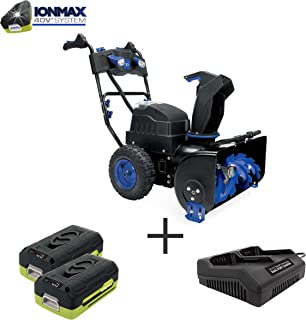 Snow Joe iON8024-XRP 80-Volt iONMAX Cordless Two Stage Snow Blower Kit   24-Inch   4-Speed   Headlights   W/ 2 x 6.0-Ah Batteries and Charger