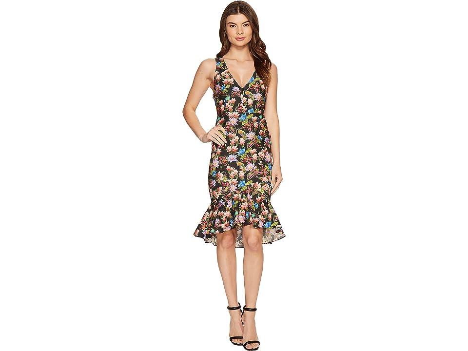 Nicole Miller Whimsical Jungle Lamanca Dress (Black Multi) Women