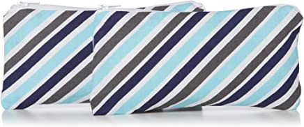 """Itzy Ritzy Reusable Mini Snack Bags - 2-Pack of 3.5"""" x 7"""" BPA-Free Snack Bags are Food Safe & Washable for Storing Snacks, Pacifiers and Makeup in a Diaper Bag, Purse or Travel Bag, Sail Away Stripe"""