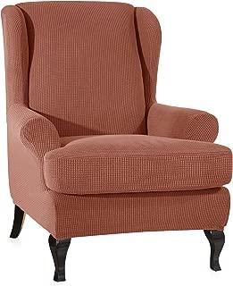 CHUN YI 2-Piece Stretch Jacquard Spandex Fabric Wing Back Wingback Armchair Chair Slipcovers (Wing Chair, Brick)