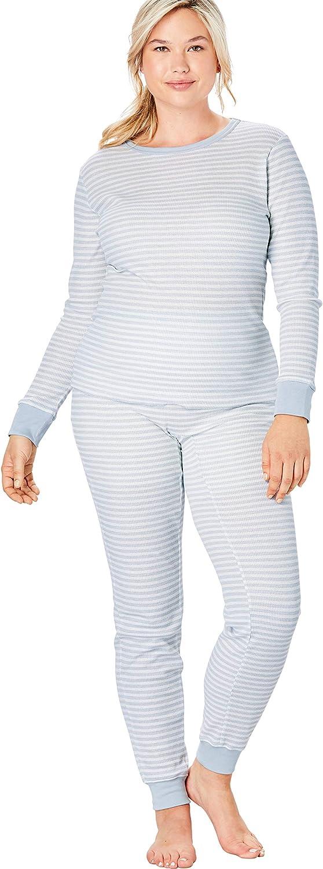 Comfort Choice Women's Plus Size Thermal Waffle Long Sleeve Tee Long Underwear Top