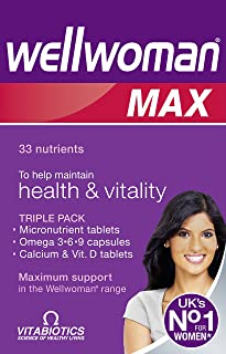 Vitabiotics WellWoman Max - 84 Count [ Vitamins & Mineral Tabs, Omega 3,6,9 Caps & Calcium Vitamin D tabs ]