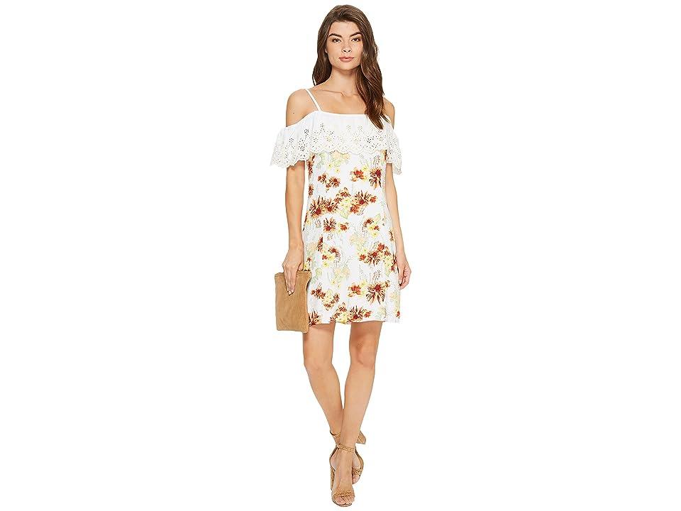 kensie Botanical Floral Cold Shoulder Dress KS7K7200 (White Combo) Women