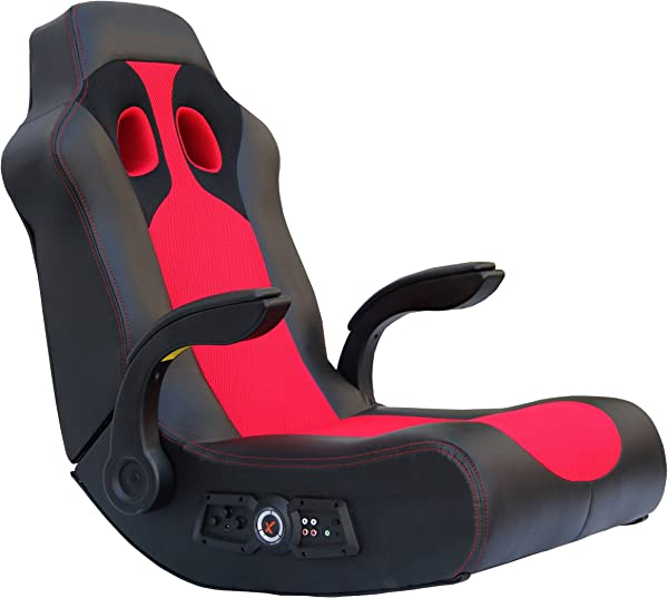 X Rocker 5172801 Ace Bayou Vibe Sound Chair With Arms Black Red