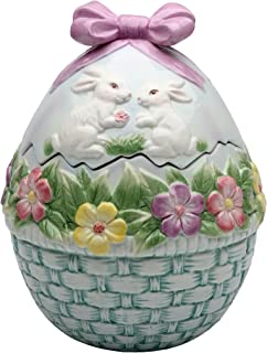 StealStreet SS-CG-10279, 7.38 Inch Ceramic Egg Shaped Cookie Jar with Flowers and Rabbits