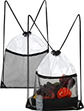 2 Pieces Clear Drawstring Bag Transparent Drawstring Backpack with Zipper Mesh Pocket