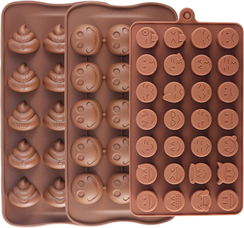 Mujiang 28 Cavity Emoji Poop Emoticon Cake Moulds Smiley Silicone Candy Baking Chocolate Molds Pack Of 3