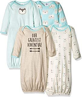 Gerber Baby Boys' 4-Pack Gown, Fox, 0-6 Months