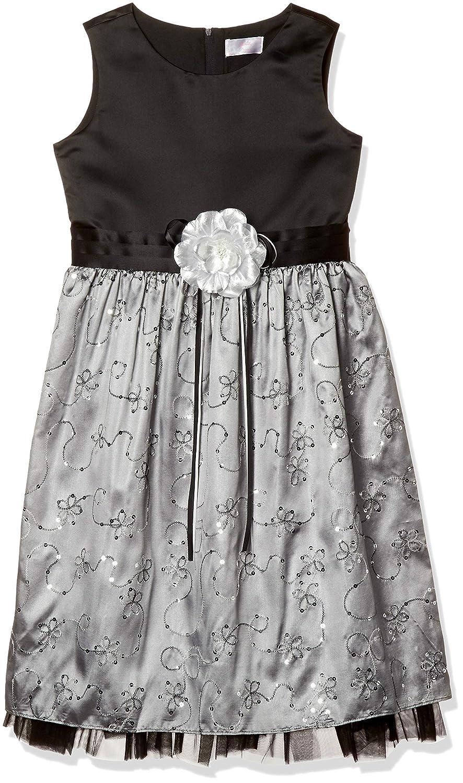 [マザウェイズ] コサージュ付 スパンコール花刺繍 袖無パーティドレス ガールズ 7064C 全2柄