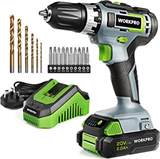 WORKPRO 20V Cordless Drill Driver Lightweight, Double Speed Cordless Combi Drill Set with 16 PCS Accessories, 2.0Ah Li-lon...