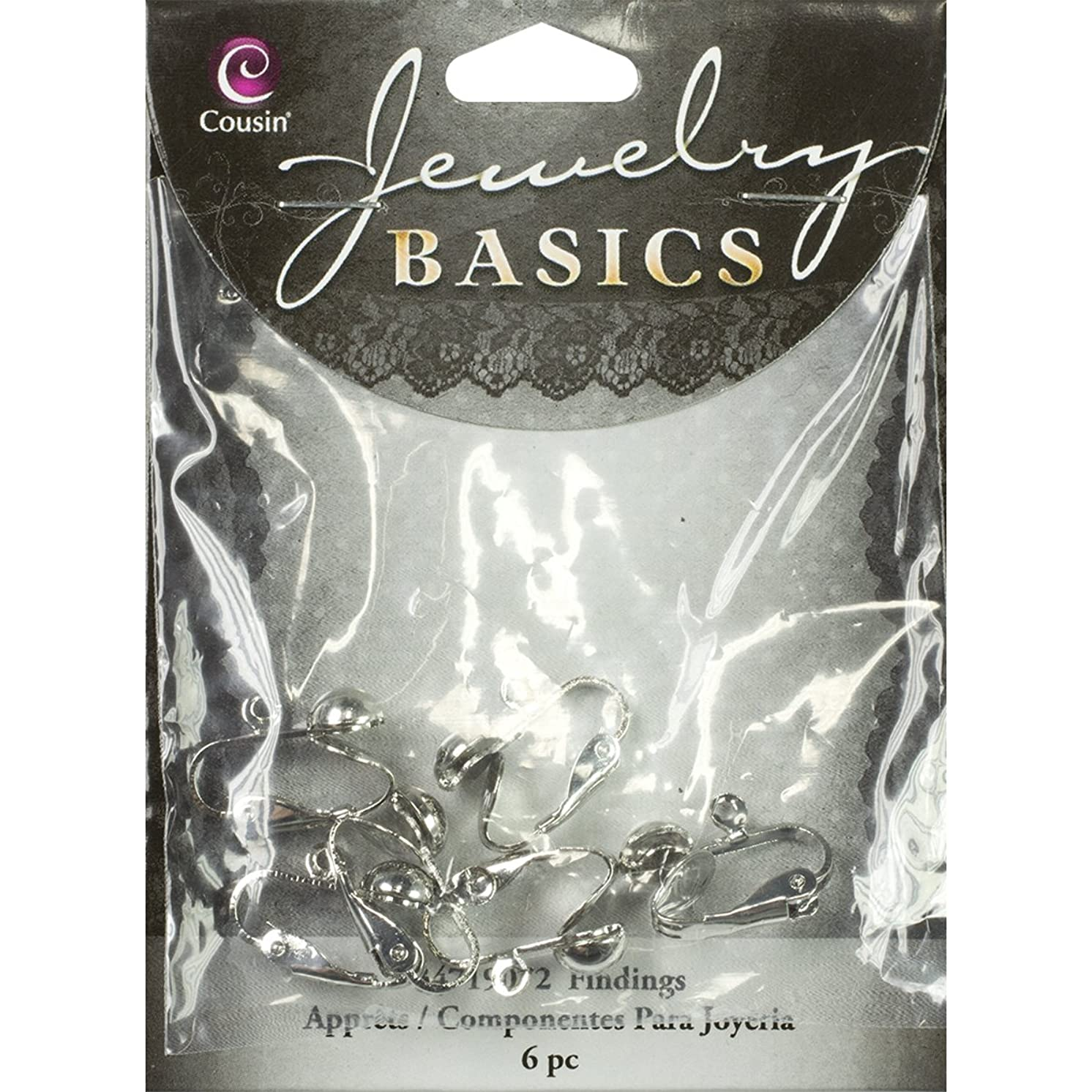 Cousin Jewelry Basics Clip-on Earring with Loop, Silver, 6-Piece