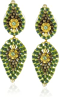 Miguel Ases Small Green Lotus Petal Drop Earrings
