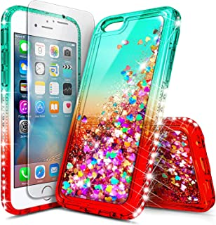 iPhone 8 Case, iPhone 7 Case with Tempered Glass Screen Protector for Girls Women Kids, NageBee Glitter Liquid Sparkle Bling Floating Waterfall Diamond Shockproof Cute Case for iPhone 7/8 -Teal/Candy