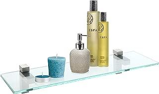 MyGift 20-Inch Wall-Mounted Bathroom Glass Display Shelf with Chrome Brackets