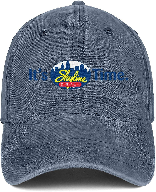 YNAHWT Men's Women Skyline-Chili- Baseball Dad Hat Snapback Denim Caps