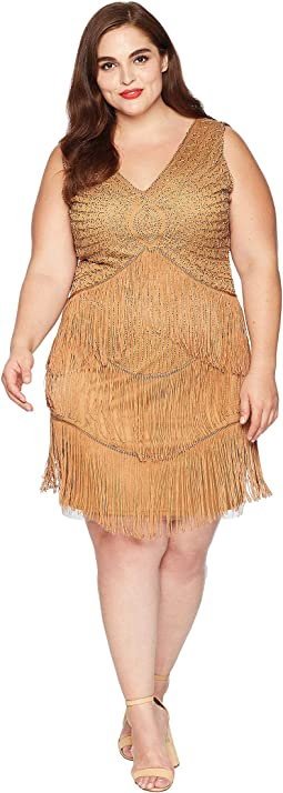 Plus Size 1920s Beaded Renee Fringe Cocktail Dress