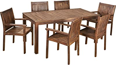 Christopher Knight Home 305934 Odin Outdoor 7-Piece Acacia Wood Dining Set, Dark Brown
