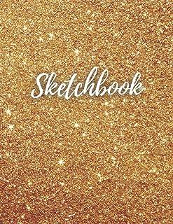 """Gold Glitter Sketchbook: 8.5""""X11"""" 100 Big Blank Page Unisex Gold Glitter Glossy Cover Sketchbook/Gold Sparkle Sketchbook/G..."""