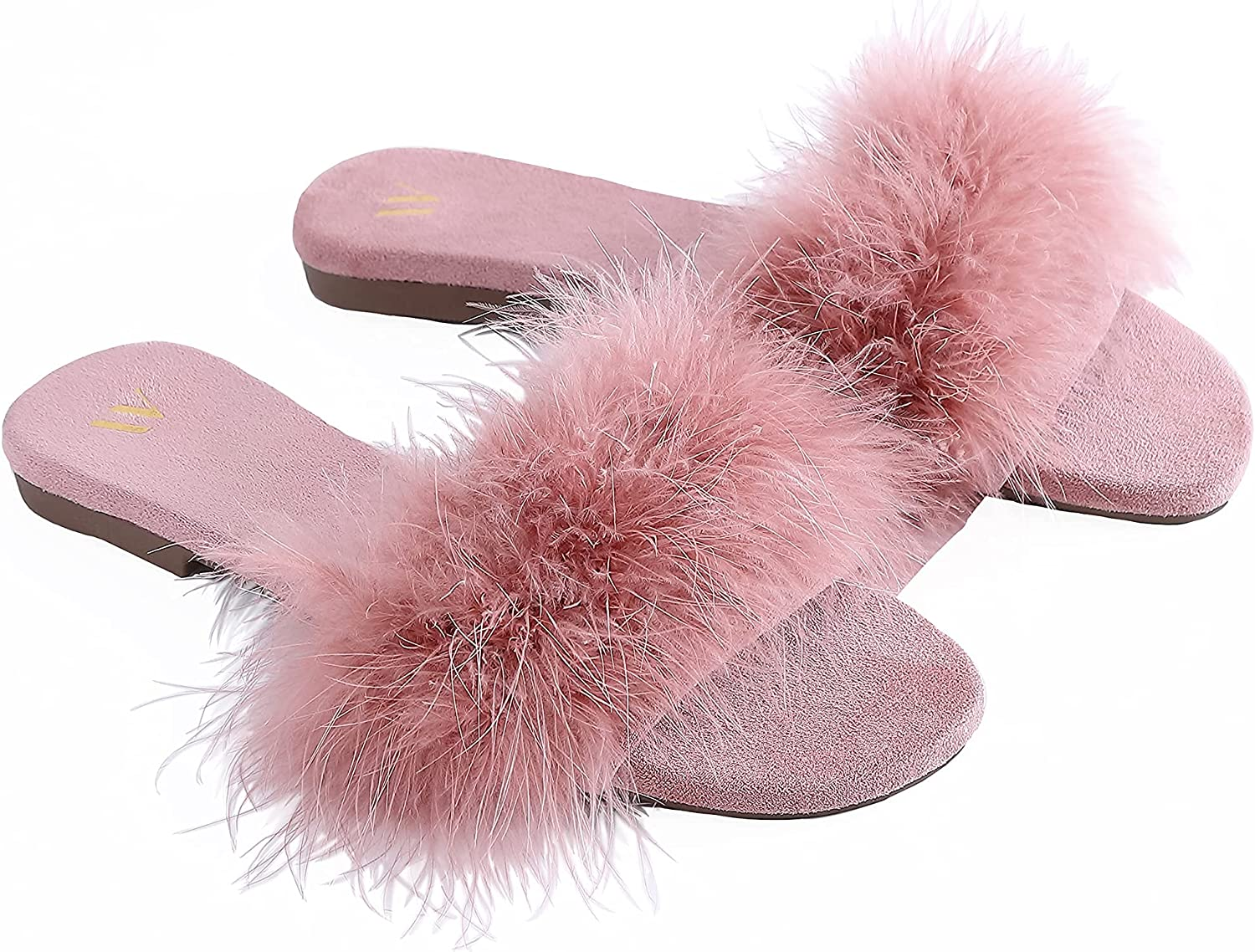 Amélie Home Women's Sexy Fashion Fuzzy Turkey Feather Open Toe Slide Slipper Cozy Real Fur Comfy Micro Suede Lined House Slipper Sandal Indoor Outdoor For Spring Summer