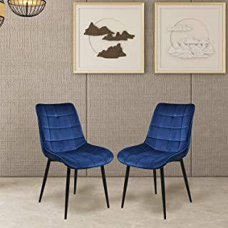 Dining Chairs, Rockjame Set of 2 Modern Leisure Upholstered Side Chairs, Velvet Cushion Seat and Mid-Back Support with Metal Legs for Kitchen, Bedroom, Living or Waiting Room (Blue)