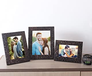 Art Street Copper Lalaveri Set of 3 Photo Frame - Table Top Mix Size 4X6, 5X7, 6X8