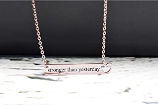 Pink Box Solid Stainless Steel Horizontal Heart Cut-Out Necklace - Stronger Than Yesterday - Rose Gold