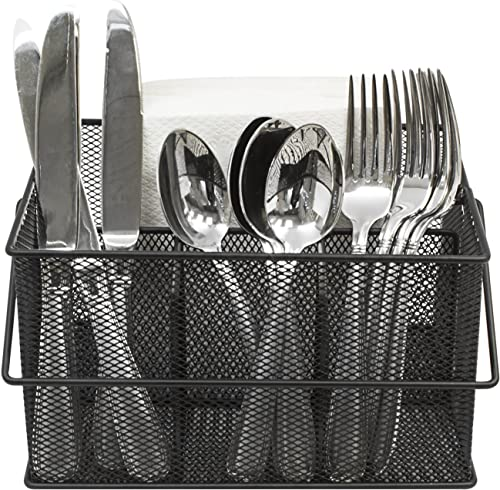 Sorbus Utensil Caddy — Silverware, Napkin Holder, and Condiment Organizer — Multi-Purpose Steel Mesh Caddy—Ideal for ...