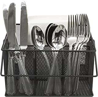 Sorbus Utensil Caddy — Silverware, Napkin Holder, and Condiment Organizer — Multi-Purpose Steel Mesh Caddy—Ideal for Kitch...