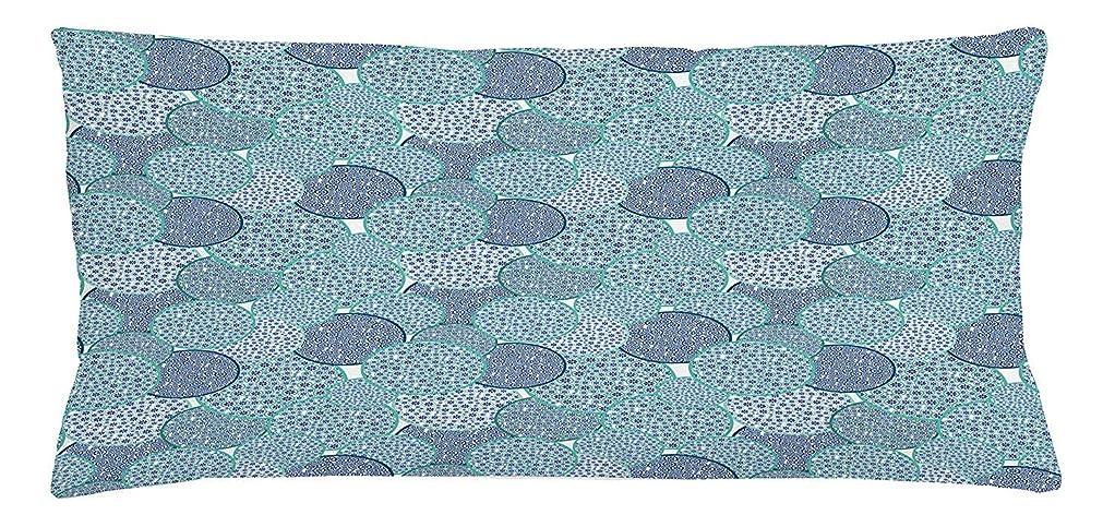 体警戒建築Floral Throw Pillow Cushion Cover, Pastel Colored Circles Filled with Blue Toned Flowers Abstract Illustration, Decorative Square Accent Pillow Case, 18 X 18 inches, Turquoise Navy Blue