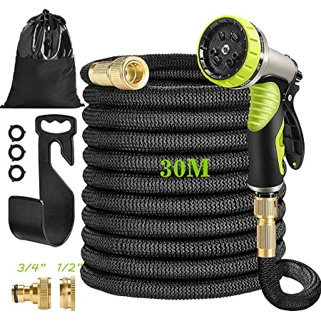"""HUTHIM Upgraded Hosepipes for Garden 30m, Expandable Hose Pipe with 9-Function Spray Gun, 3 Times Expanding Flexible Water Hose 100ft, Double Latex Core Magic Retractable Hose with 1/2"""" 3/4"""" Fittings"""