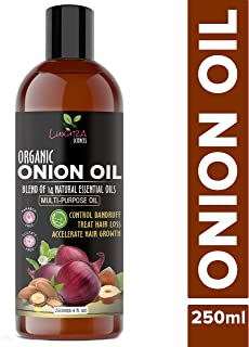 Luxura Sciences Onion Hair Oil 250 ML with 14 Essential Oils, Multi-Purpose Hair Growth Oil/Serum For Complete Hair Treatment with Argan, Bhringraj, Hibiscus, Sesame,Amla,Sweet Almond, Olive and more.