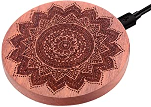 JUBECO Wood Wireless Charger, 7.5w for iPhone Xs,Xr, 8/8 Plus,10w for Samsung Note 8/9, S9/8/7/6 and All QI Smart Phones. (AC Adapter Not Included). (Mandala-roeswood)