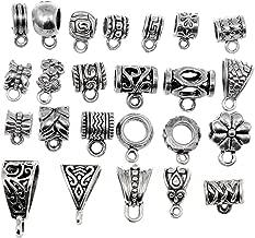 RUBYCA 48Pcs Mix Tibetan Silver Color Connectors Bails Beads fit European Charm Bracelet Pendant