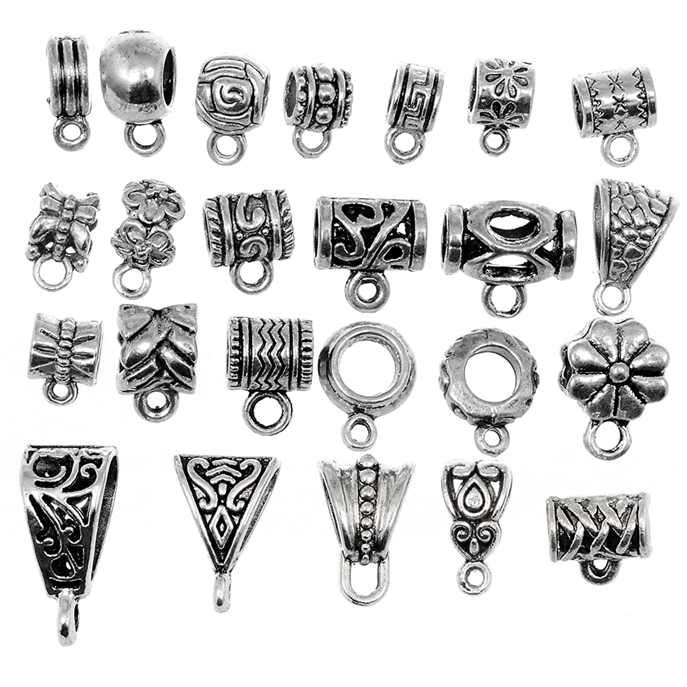 RUBYCA 24Pcs Mix Tibetan Silver Color Connectors Bails Beads fit European Charm Bracelet Pendant