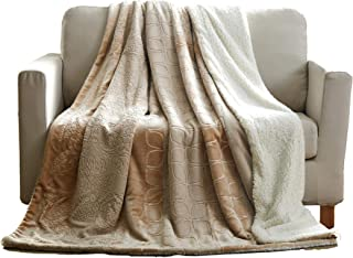 Tache 50x60 Embossed Bubbly Champagne Beige Soft Sherpa Throw Blanket