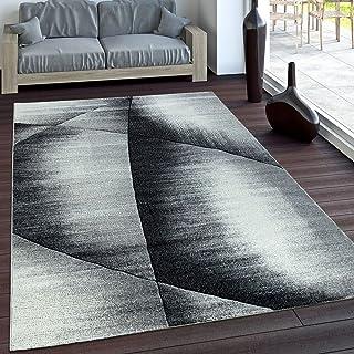 Alfombra Preciosa De Diseño A Cuadros Corte Contorno Gris Negro Mezclado, tamaño:200x290 cm