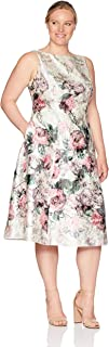Adrianna Papell Women's Plus Size Printed Jacquard Sleeveless Tea-Length Dress, red/Multi