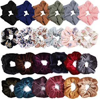 YESHM Pack of 24 Chiffon Flower Hair Scrunchies,Velvet Colorful Hair Ties,Elastic Hair Bobbles for Ponytail Holder,Hair Accessories Ropes Scrunchie for Women Mixcolor Flower Printed Solid Color