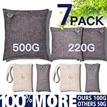 Bamboo Charcoal Air Purifying Bags 7 Pack(4×100g,2×200g,1×500g) Natural Non-Toxic Eco Friendly Activated Charcoal Bags for Home, Car, Closet, Shoes