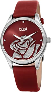 Burgi Women's Diamond Accented Flower Watch - Rose Cut-Out Dial with Glitter Powder with 4 Diamond Hour Markers On Satin L...
