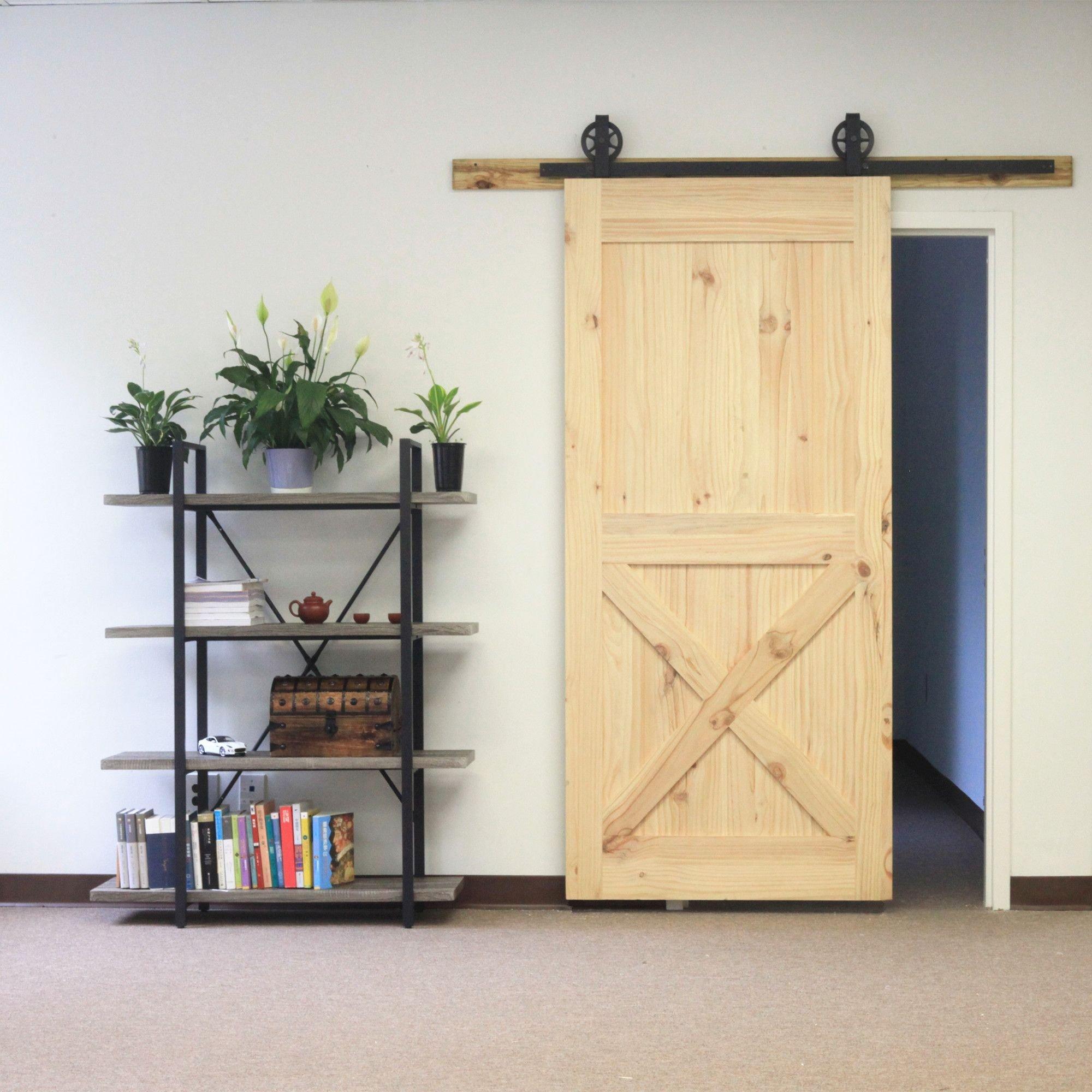 homacer sola puerta corrediza de granero Hardware Kit, 5 – 20 FT Track, diseño recto, color negro rústico con fuerza Industrial con perchas, perfecto para garaje, armario, interior y exterior puerta uso: