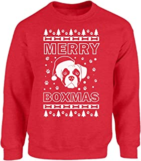 Merry Boxmas Sweatshirt Ugly Christmas Sweater for Men and Women Boxer Lover Sweater Xmas Gifts for Dog Lovers