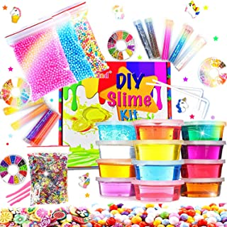 DIY Slime Kit Slime Supplies for Girls Boys Clear Slime for Kids with Glitter Jar Foam Bead and Unicorn Toys for Slime Making kit Aged 6+