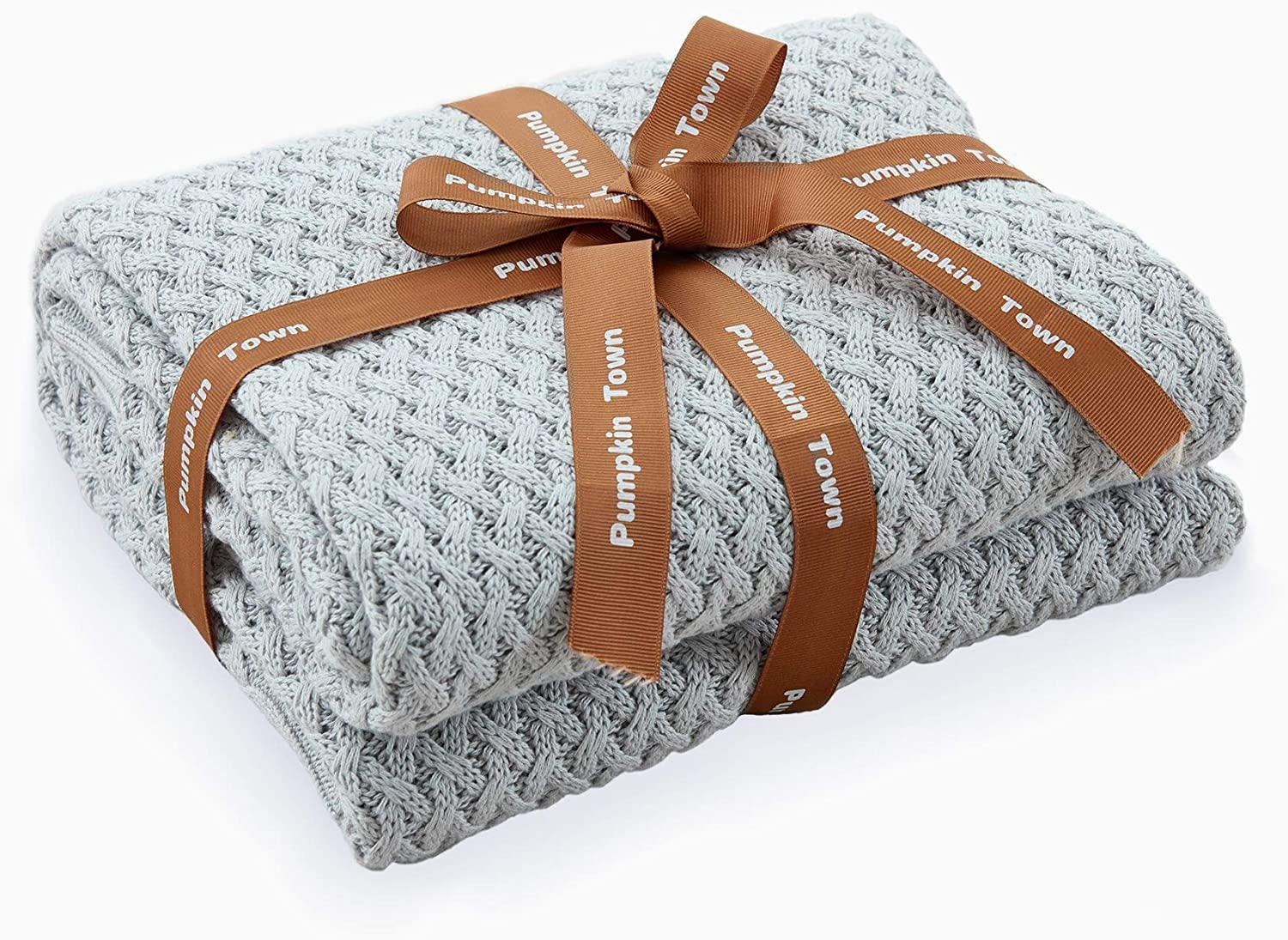 Pumpkin Town Gray 100% Cotton Cable Knit Spring Throw Blanket for Soft Sofa, Chair, Couch, Picnic, Camping, Beach, Home Decorative Knitted Blanket, 50