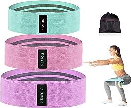 KEAFOLS Weerstandsbanden, 3-delige set, antislip-trainingsbanden voor benen, stof, trainingsbanden, 3 weerstandsniveaus vo...