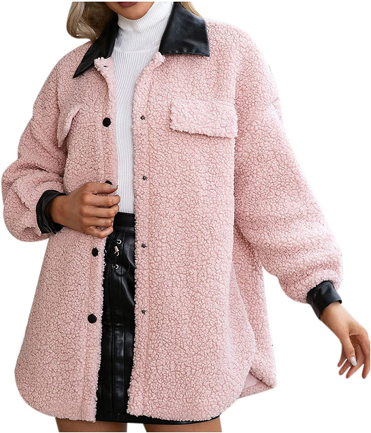 Casual Today's only Women's Warm Faux Plush Coat Don't miss the campaign Pu Leather Winter Thicken St